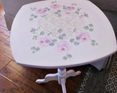 Free Ship, Vintage Wood Accent Table, Hand Painted with Cottage Pink Roses, Designer Stencil Accent, Light Pink Details, Home Decor, ECS