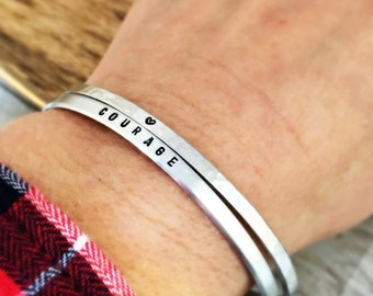 Skinny cuff bracelets, set of two womens personalized bracelets, inspirational jewelry, courage, heart, best friend gift for her, hammered