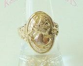 Reserved listing for Teresa B. - 14kt gold woman's profile ring - gold cameo ring - made to order