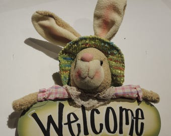 Plush Bunny with Hand Lettered Sign