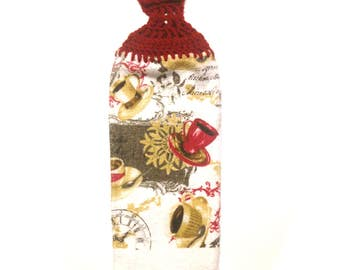 Coffee Cups Hand Towel With Claret Crocheted Top