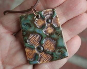 Rustic Flowers on Blue Green Porcelain Pendant