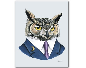 Horned Owl art print by Ryan Berkley 5x7