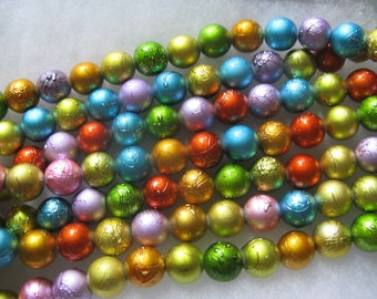 30 Jewel Color Foil Painted Bead 12mm Very Pretty Jewel Colors