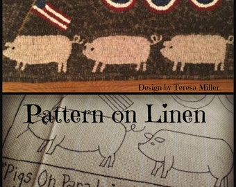 Hooked Rug Pattern Linen Pigs On Parade