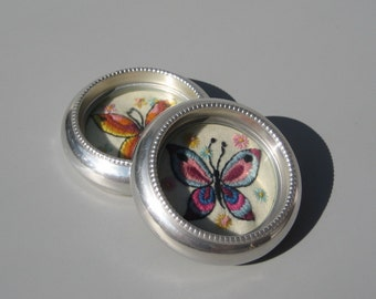 Vintage Embroidered Butterfly Coasters Colorful Butterflies Linen Needlework Under Glass Aluminum Coasters