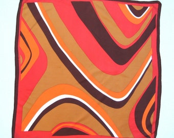 1970s Mod Silk Scarf Wavy Lines Op Art Suitable for Framing Fall Colors 26.5 Inches Square