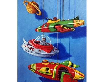 SALE!! SPACE DREAMS original realistic still life vintage tin toys painting