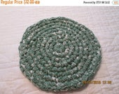 30% OFF STORE SALE Crocheted Round Rag Rug Hot Pad  Green Plaid