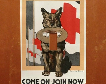 Join the Red Cross -- Vintage WWI Red Cross Recruitment Poster Light Switch Cover -- Oversized (Multiple Styles)
