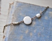 Simple white pearl necklace/ freshwater pearl necklace / dot necklace /layering necklace/short necklace. Tiedupmemories
