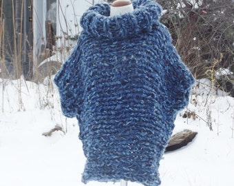 Poncho sweater, cowl neck, chunky knit poncho, indigo blue tweed, slouchy cover up, handknit wrap, boho top, women small, medium,  men small
