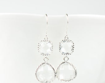 Clear Crystal Silver Earrings, Crystal Silver Dangle Earrings, Silver Drop Earrings, Long Silver Earrings, Crystal and Silver Earring