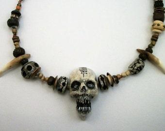 Voodoo Mama,Shadow man, Zombie, Shrunken Head,Bohemian Zombie Head Necklace