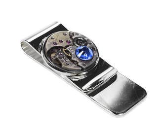 Steampunk Money Clip Vintage ROUND Watch Silver Mens MONEY Clip Blue Crystal Wedding Anniversary Fathers Day Groom - Jewelry by edmdesigns