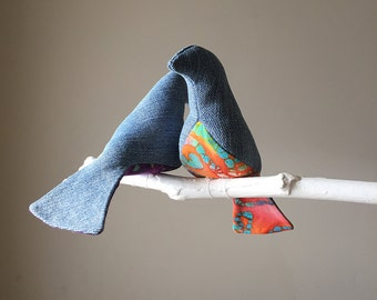 Hippy Chicks - a 7 Bird Mobile in Denim and Colorful Batiks  -  A Kinetic Beauty