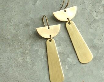 Brass Dangle Earrings, Half Circle and Tear Drop Earrings, Chandelier Earrings