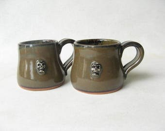 Pottery Espresso Cups with Skull Motif  Set of 2