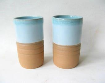 Ceramic Tumblers Set of 2, Pottery Glasses, Stoneware Tumblers