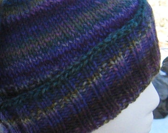 ribbed hat, hand knit, hand spun
