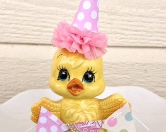 Vintage Birthday Decoration Shabby Chic Vintage Enesco Chick Figurine Easter Decoration Cake Topper for Birthday Party TVAT
