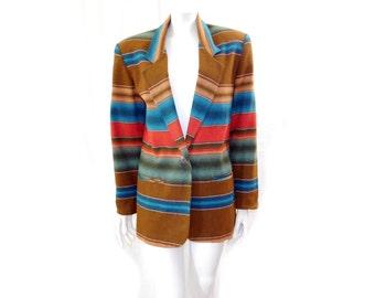 Vintage 90s Southwestern Blazer Jacket // Brown Red Blue Stripes Wool Acrylic Jacket// Size M // 151