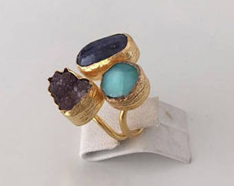 Triple Gold plated  Sapphire, Chalchedony and  Amethyst  ring