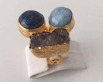 Triple Gold plated Blu agate, Lapiz  and  Druzy  ring