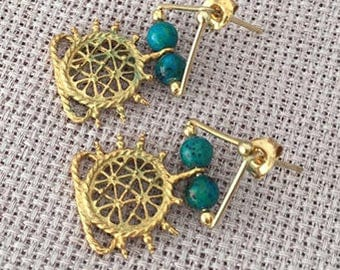 Tribal Afghan Silver earrings, Turkish jewelry, Gold plated Turquoise earring