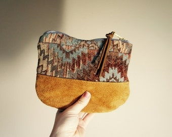 Southwestern Textile and Leather Pouch//Reversible