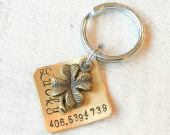 Our dog tags make a unique personalized gift. Each pet id tag is crafted in our Bozeman, Montana studio by dog lovers. Lucky Charm Pet Tag