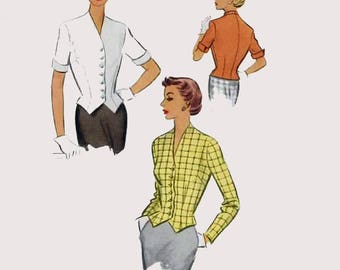 1950s Misses Weskit Tailored Jacket Blouse McCall 8265 Vintage 50s Sewing Pattern Size 16 Bust 34 UNCUT