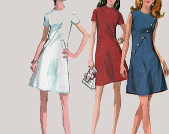 Vintage Mod A Line Day Dress Sewign Pattern w/ Diagonal Front Seaming McCalls 2390 70s Sewing Pattern Size 12 Bust 34