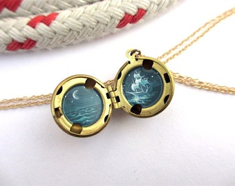 Oil-Painted Locket, Night Sailing under the Moon, Ghost Ship at Sea in Teal Green