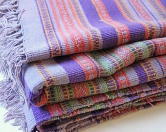 Vintage purple stripes  Peruvian manta rug blanket -  tapestry bed cover - rug carpet
