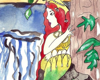 Mermaid Illustration Original Art Sea Princess Voldova Slavic Fairy Tales Mermaid Painting Art for Kids