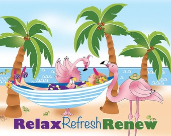 Greeting Card - Best Vacation Ever - Flamingos