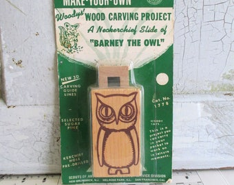 Vintage Make-Your-Own Wood Carving Project - Neckerchief Slide Barney the Owl