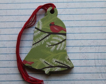 15 Handmade Gift Tags Bird on Branches/Holly chipboard Bell shaped Tags