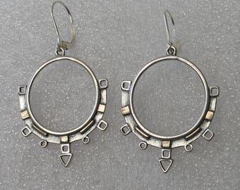 """2"""" Ancient Modern Mixed Metal Hoop Earrings"""