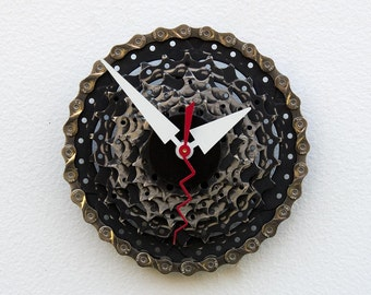 Bike Gear Clock, Wall Clock, Modern Clock, Industrial Design, Bicycle Gift For Her, Cycling Gift, Recycled Bike Clock, bicycle clock
