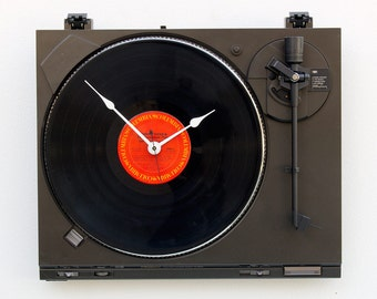 Record player clock, record album clock, music lover clock, Art Clock, upcycled large wall clock, vintage, Recycled Technics Turntable Clock