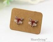 4pcs (2 pairs) Mini Fox Resin Charm / Pendant,  Stud Earring, Laser Cut Tiny animal Perfect for Earring / Rings - YED002J