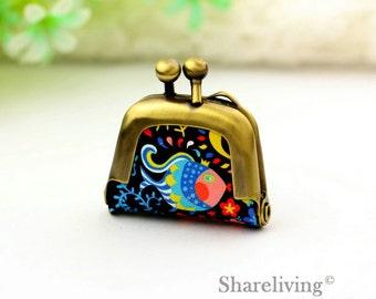 1pcs Colored Fish Purse Charm, Handmade  Antique Bronze / Silver Photo Purse Pendant / Necklace - PL005U