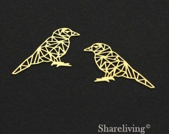 Exclusive - 4pcs Raw Brass Bird Charm / Pendant, Geometry Bird, Fit For Necklace, Earring, Brooch - TG285