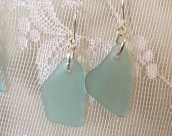 Turquoise canning jar beachglass inspired earrings, mason jar aqua glass earrings
