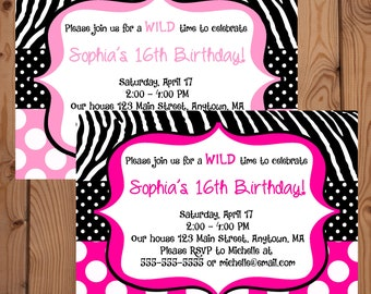 Pink Zebra Invitation - Zebra Birthday Invitation - Digital Zebra Invitation - Printable Zebra Invite - Zebra Birthday Party - Hot Pink