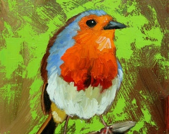 Bird painting 280 12x12 inch Robin portrait original oil painting by Roz