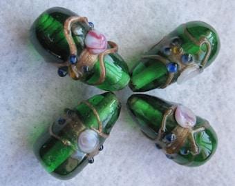 Vintage Wedding Cake Beads ~ Large Glass beads ~ Lampwork Glass Beads ~ Czech Glass Beads ~ Lampwork Glass Flower Beads ~ Beads
