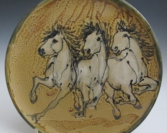 Plate with three horses hand painted pottery